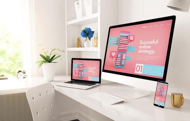 Escritório em casa configurado com site de marketing digital responsivo na renderização 3d da tela