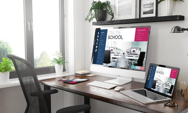 Escritório em casa em preto e branco com dispositivos responsivos online escola renderização em 3d