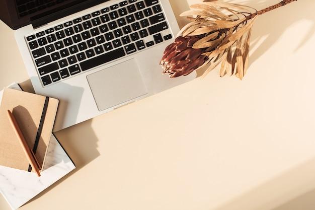 Escritório em casa, mesa, escrivaninha, área de trabalho com laptop, flor protea tropical, caderno em superfície bege pastel