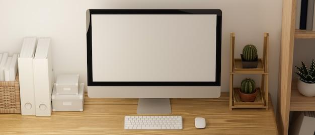 Escritório em casa mínimo em um interior elegante e aconchegante em estilo escandinavo com maquete de computador renderização em 3d