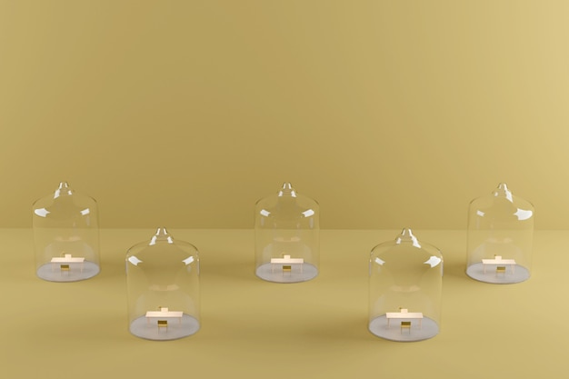 Escritório em casa sob uma cúpula de vidro. isolamento durante a quarentena pandêmica covid-19. renderização 3d. fundo amarelo de distanciamento físico.