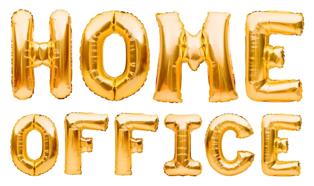 Escritório home das palavras feito de balões infláveis dourados. quarentena, proteção contra a epidemia de coronavírus ou covid-19, campanha de mídia social para prevenção de coronavírus