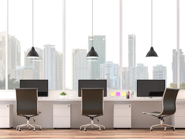Escritório moderm com vista da cidade renderização em 3d mobiliado com mesa branca e cadeira de couro preta