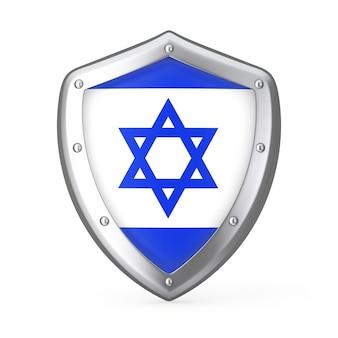 Escudo com a bandeira de israel em um fundo branco. renderização 3d