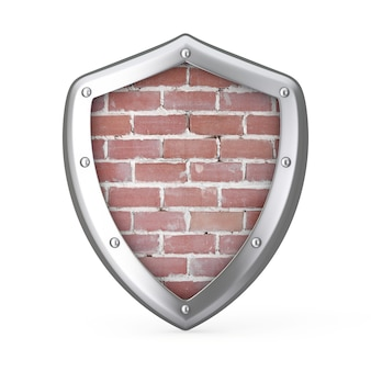 Escudo com parede de tijolos dentro de um fundo branco. renderização 3d
