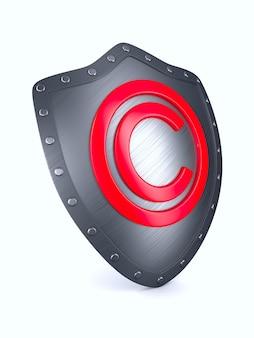 Escudo com sinal de copyright na superfície branca. ilustração 3d isolada.