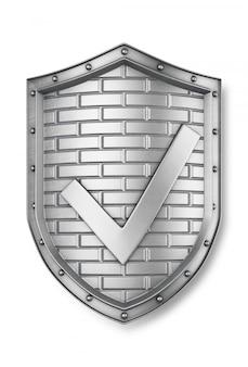Escudo de metal com uma marca de seleção. 3d render
