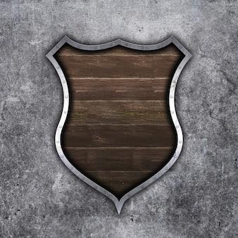 Escudo de metal e madeira velho 3d em fundo grunge concreto