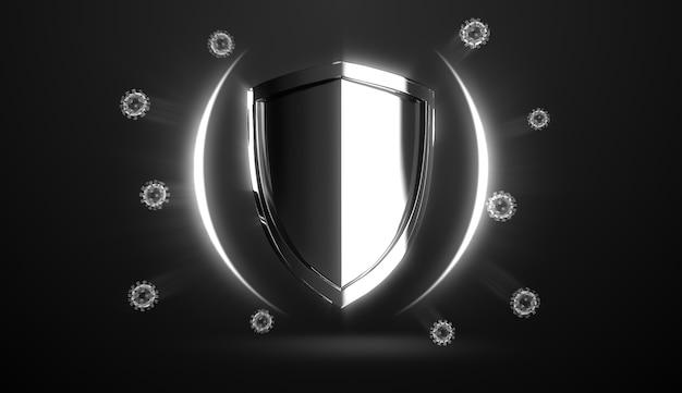 Escudo higiênico que protege do vírus covid-19, germes e bactérias para o conceito de proteção de bactérias e vírus da saúde.