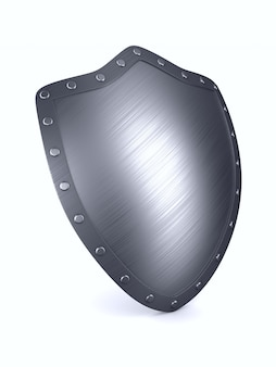 Escudo na superfície branca. ilustração 3d isolada.