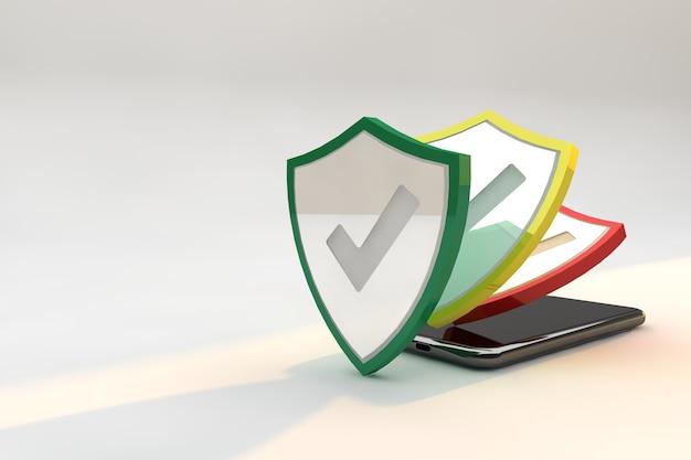Escudos de proteção contra segurança cibernética no smartphone