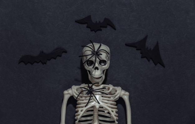 Escultura de esqueleto, aranha e morcegos em um fundo preto e escuro. tema de halloween.