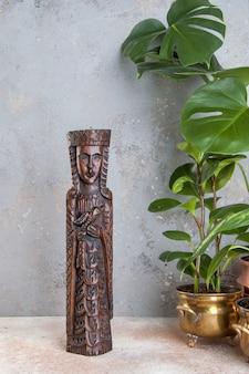 Escultura de madeira vintage arte da parede