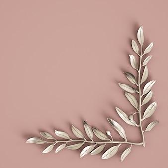 Escultura de prata branche azeitona na parede rosa pastel. renderização em 3d