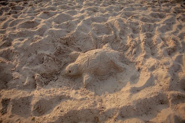 Escultura em areia de uma tartaruga marinha