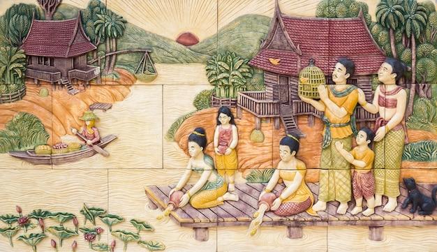 Escultura em pedra da cultura tailandesa