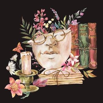 Escultura grega com cartão de flores secas. ilustração vintage floral escuro academia. borboleta, óculos, livros, chave antiga isolada no fundo preto.