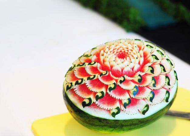 Esculturas de frutas e vegetais, exibição de frutas tailandês escultura