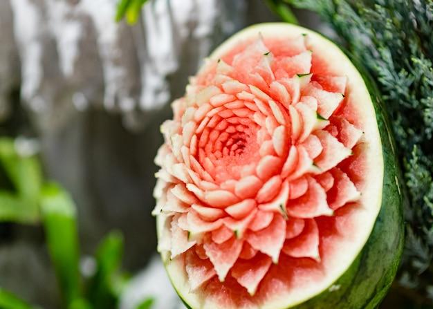 Esculturas de frutas e vegetais, exibição thai fruit sculpture carving
