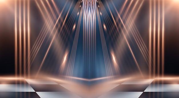 Escuro moderno abstrato com raios e linhas.