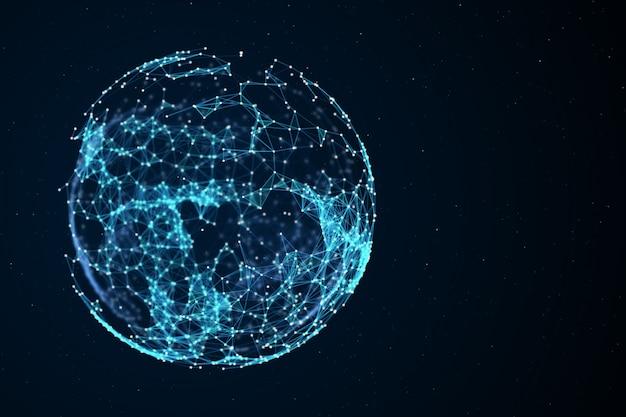 Esfera abstrata animada de pontos brancos conectados com linhas azuis