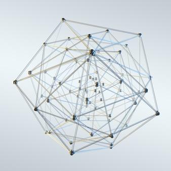 Esfera abstrata com pontos e linhas de renderização em 3d