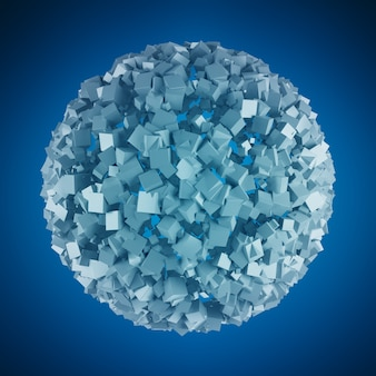 Esfera abstrata com renderização 3d cubo brilhante