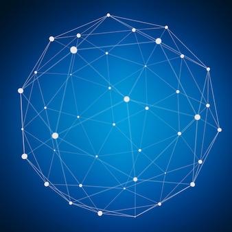 Esfera abstrata da web da conexão com ponto e linhas rendição 3d