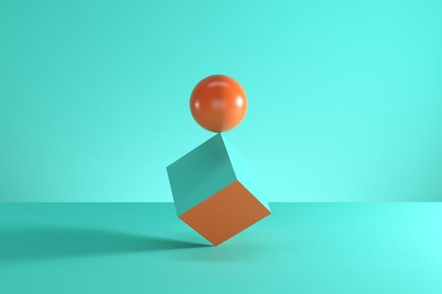 Esfera alaranjada na borda do cubo azul isolada no fundo azul.