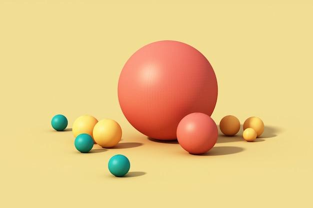 Esfera colorida sobre fundo amarelo. 3d render