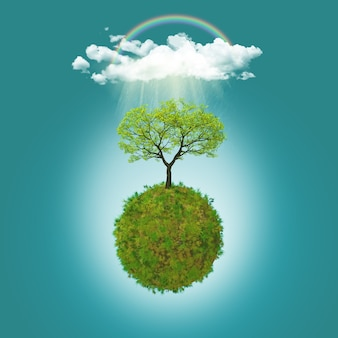 Esfera com uma árvore e uma nuvem
