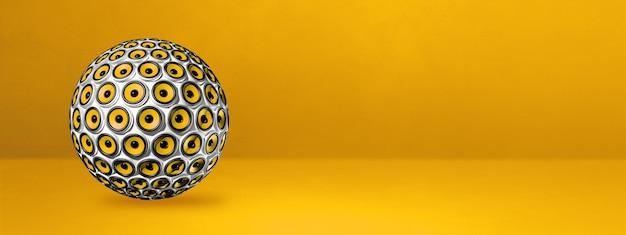 Esfera de alto-falantes isolada em um banner amarelo de estúdio.