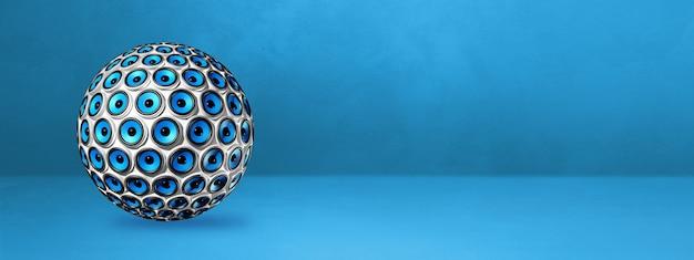 Esfera de alto-falantes isolada em um banner azul do estúdio.