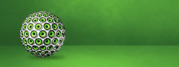 Esfera de alto-falantes isolada em um banner de estúdio verde. ilustração 3d