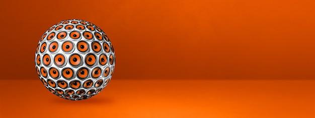 Esfera de alto-falantes isolada em um banner laranja do estúdio.