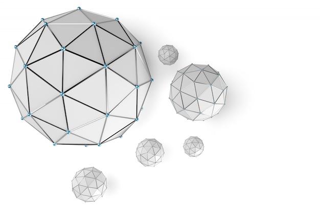 Esfera de baixo poli abstrata com pontos conectados