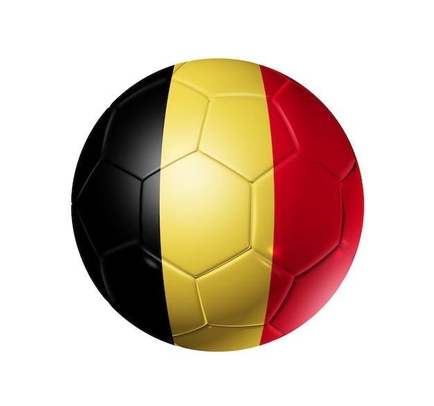 Esfera de futebol 3d com a bandeira da equipe de bélgica.