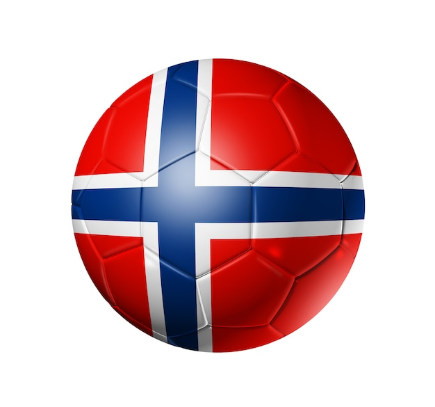 Esfera de futebol 3d com a bandeira da equipe de noruega.
