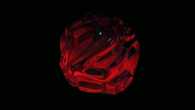 Esfera de líquido vermelha. ilustração abstrata, renderização em 3d.