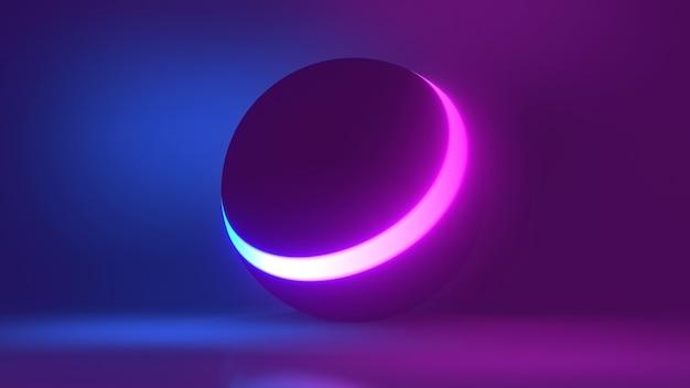 Esfera de luz de néon brilhante colorido abstrato mostra o espaço em branco ilustração 3d da bola de discoteca
