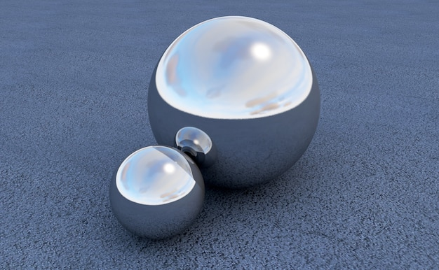 Esfera de metal renderização 3d em fundo de asfalto