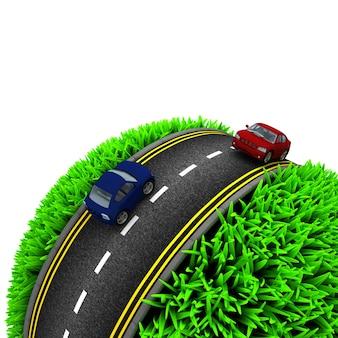 Esfera de perto com grama e carros