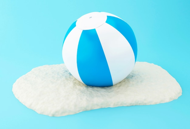 Esfera de praia 3d na areia.