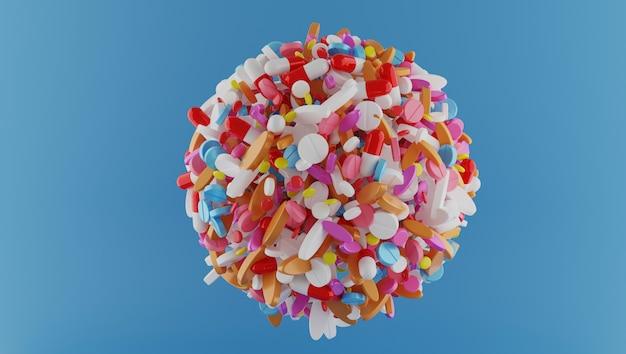 Esfera de renderização 3d de comprimidos de várias cores na cor