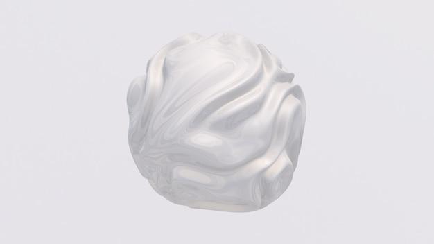 Esfera de vidro branco. ilustração abstrata, renderização em 3d.
