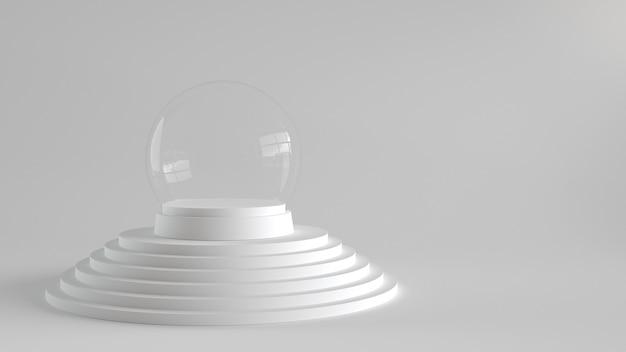 Esfera de vidro da neve vazia com a bandeja branca no pódio das etapas brancas.