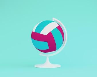 Esfera do globo o conceito do voleibol da esfera no fundo azul pastel. idéia mínima esportes con