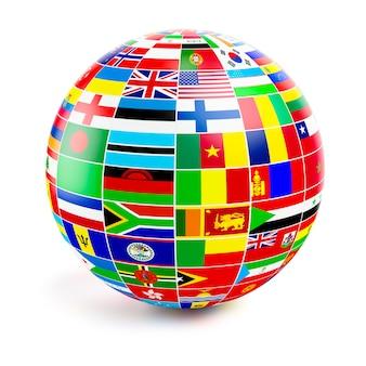 Esfera do globo tridimensional com bandeiras do mundo