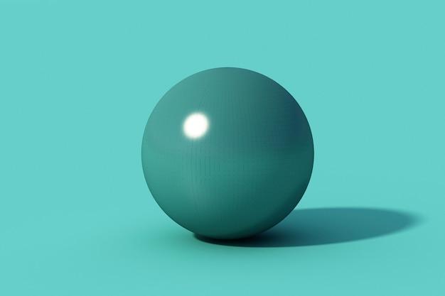 Esfera esfera azul sobre fundo azul. 3d render