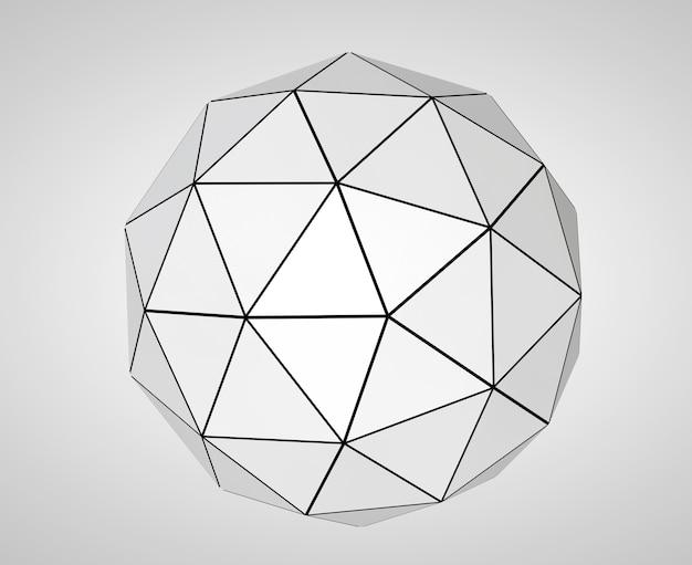 Esfera futurista abstrata em um fundo branco. renderização 3d